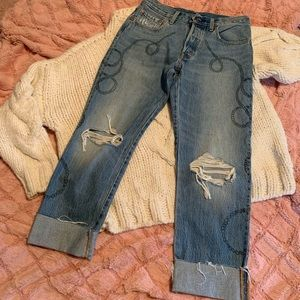 LEVI'S 501 button fly distressed jeans. Gentle use